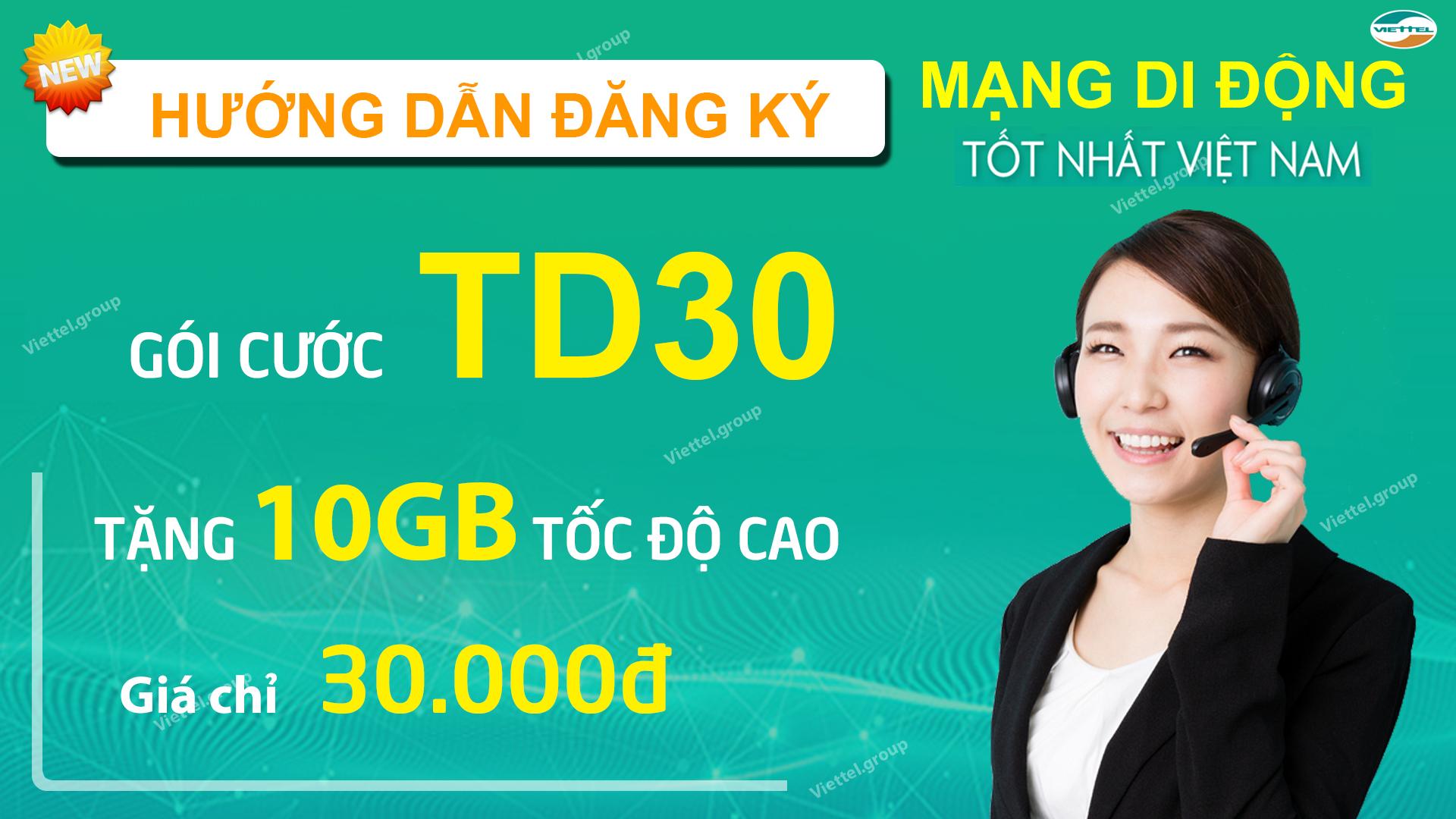 Hướng dẫn đăng ký gói TD30 Viettel